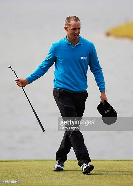 Alex Noren of Sweden celebrates his victory on the 18th green during day four of the Nordea Masters at PGA Sweden National on June 7 2015 in Malmo...