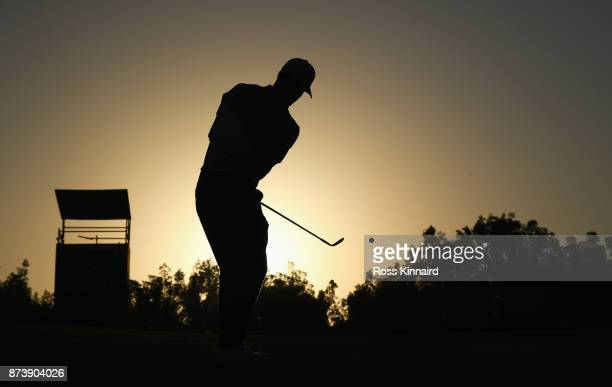 Alex Noren of Sweden chips on to the 5th green during the ProAm prior to the DP World Tour Championship at Jumeirah Golf Estates on November 14 2017...