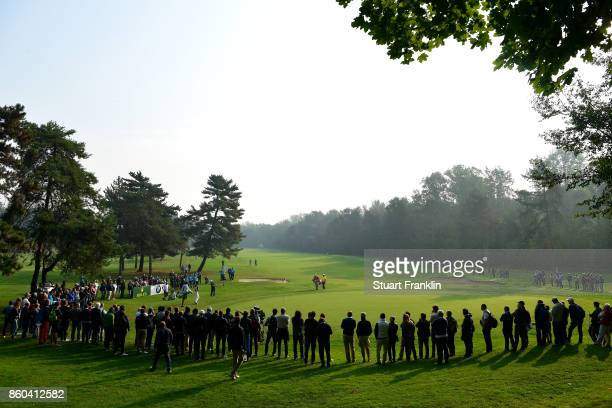 Alex Noren of Sweden chips onto the 15th green on Day One of the Italian Open at Golf Club Milano Parco Reale di Monza on October 12 2017 in Monza...