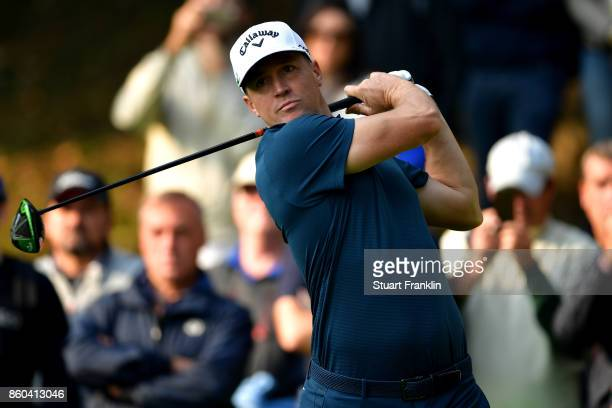Alex Noren of Sweden drives of the tee on Day One of the Italian Open at Golf Club Milano Parco Reale di Monza on October 12 2017 in Monza Italy