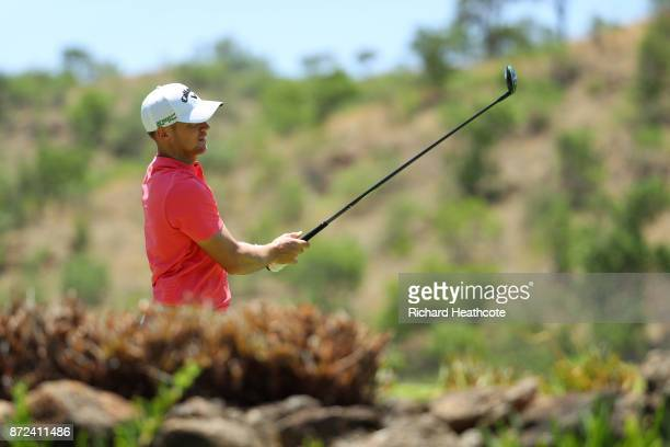 Alex Noren of Sweden hits a tee shot on the 5th hole during the second round of the Nedbank Golf Challenge at Gary Player CC on November 10 2017 in...