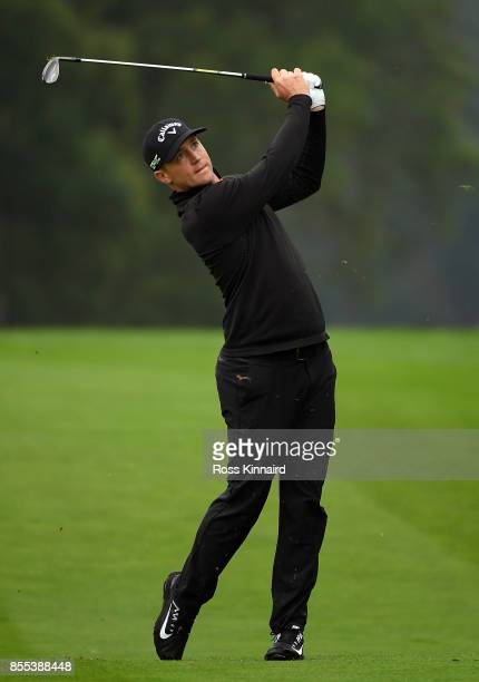 Alex Noren of Sweden hits his secnod shot on the 11th hole during day two of the British Masters at Close House Golf Club on September 29 2017 in...