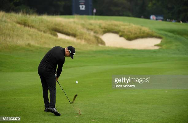 Alex Noren of Sweden hits his second shot on the 12th hole during day two of the British Masters at Close House Golf Club on September 29 2017 in...