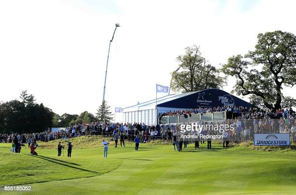 Alex Noren of Sweden hits his second shot on the 17th hole during day one of the British Masters at Close House Golf Club on September 28 2017 in...
