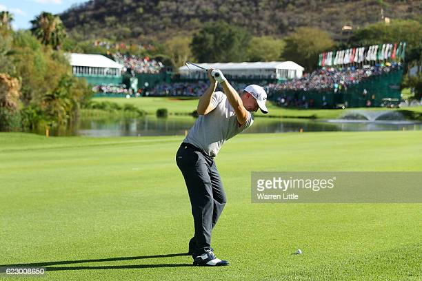 Alex Noren of Sweden hits his second shot on the 18th hole during day four of the Nedbank Golf Challenge at Gary Player CC on November 13 2016 in Sun...