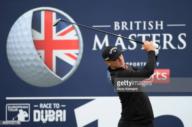 Alex Noren of Sweden hits his tee shot on the 12th hole during day two of the British Masters at Close House Golf Club on September 29 2017 in...