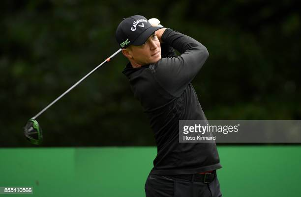 Alex Noren of Sweden hits his tee shot on the 15th hole during day two of the British Masters at Close House Golf Club on September 29 2017 in...