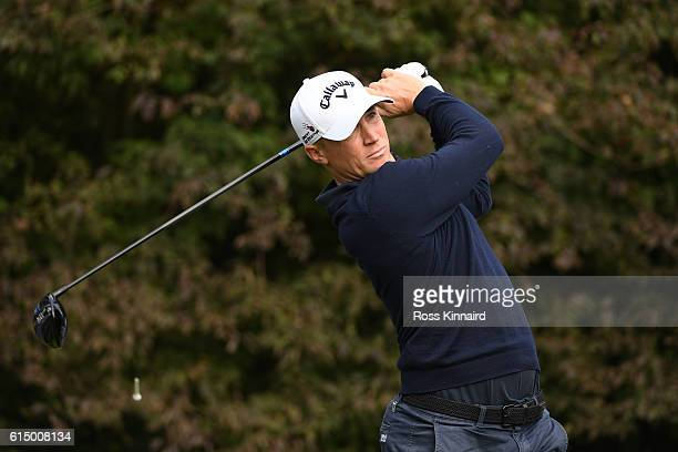 Alex Noren of Sweden hits his tee shot on the sixth hole during the fourth round of the British Masters at The Grove on October 16 2016 in Watford...