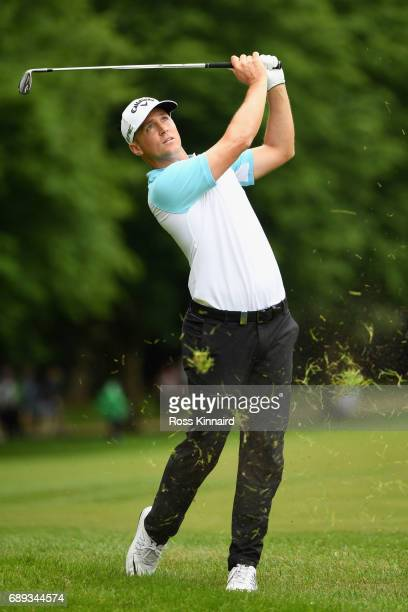 Alex Noren of Sweden hits his third shot on the 17th hole during day four of the BMW PGA Championship at Wentworth on May 28 2017 in Virginia Water...