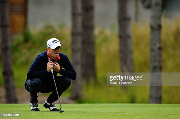 Alex Noren of Sweden lines up a putt on the green on hole 4 on day four of the Aberdeen Asset Management Paul Lawrie Matchplay at Archerfield Links...