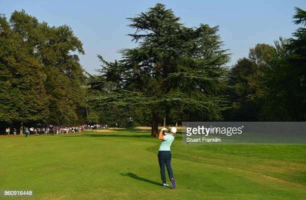 Alex Noren of Sweden plays a shot during day two of the Italian Open at Golf Club Milano Parco Reale di Monza on October 13 2017 in Monza Italy