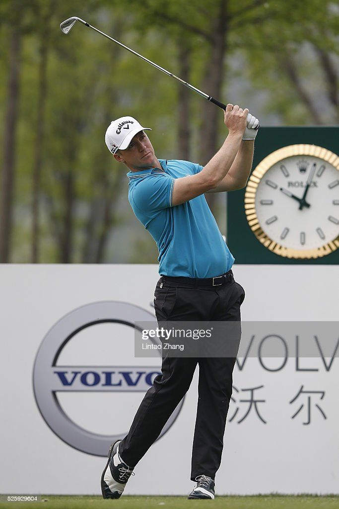 Alex Noren of Sweden plays a shot during the second round of the Volvo China open at Topwin Golf and Country Club on April 28, 2016 in Beijing, China.