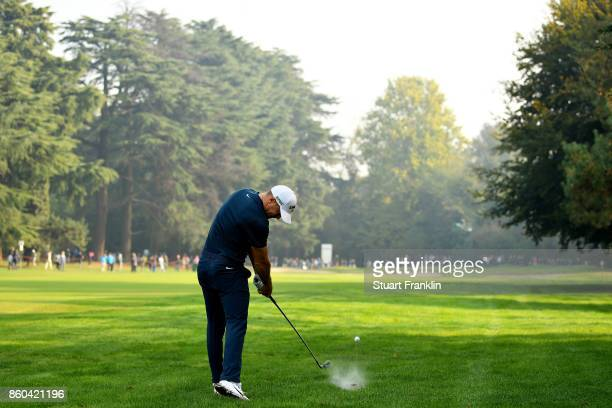 Alex Noren of Sweden plays a shot on the 16th hole on Day One of the Italian Open at Golf Club Milano Parco Reale di Monza on October 12 2017 in...
