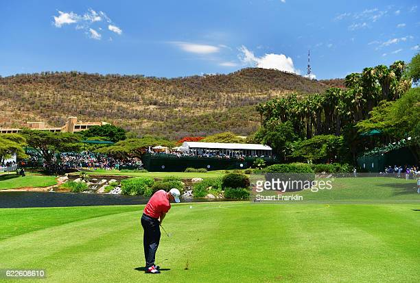 Alex Noren of Sweden plays a shot on the ninth hole during the third round of The Nedbank Golf Challenge at Gary Player CC on November 12 2016 in Sun...