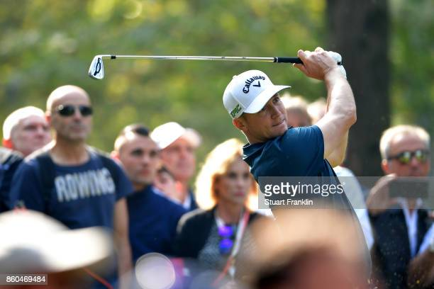 Alex Noren of Sweden plays a shot out on Day One of the Italian Open at Golf Club Milano Parco Reale di Monza on October 12 2017 in Monza Italy