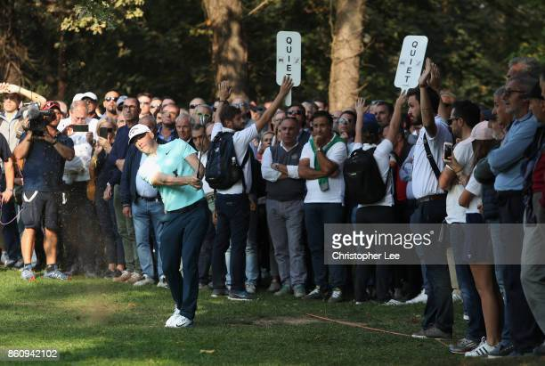 Alex Noren of Sweden plays from the rough on the 11th hole during day two of the Italian Open at Golf Club Milano Parco Reale di Monza on October 13...