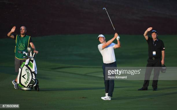 Alex Noren of Sweden plays his second shot on the 5th hole during the ProAm prior to the DP World Tour Championship at Jumeirah Golf Estates on...
