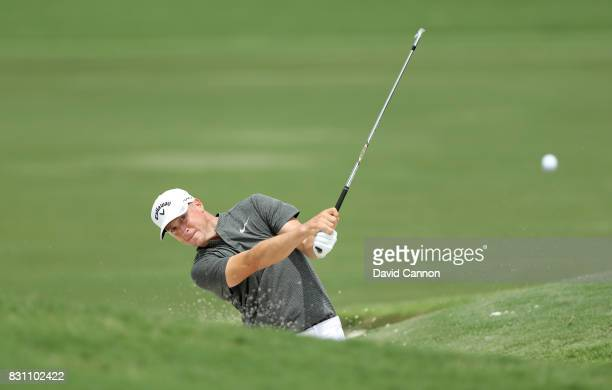 Alex Noren of Sweden plays his second shot on the par 4 16th hole during the final round of the 2017 PGA Championship at Quail Hollow on August 13...