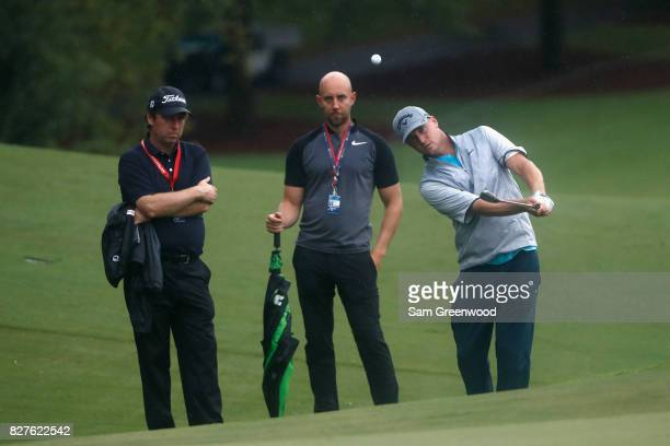 Alex Noren of Sweden plays his shot during a practice round prior to the 2017 PGA Championship at Quail Hollow Club on August 8 2017 in Charlotte...
