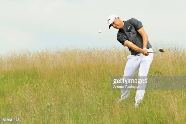 Alex Noren of Sweden plays his shot on the 16th hole during a practice round prior to the 2017 US Open at Erin Hills on June 13 2017 in Hartford...