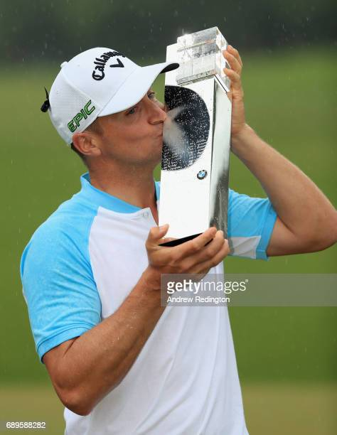 Alex Noren of Sweden poses with the trophy after winning the BMW PGA Championship at Wentworth on May 28 2017 in Virginia Water England