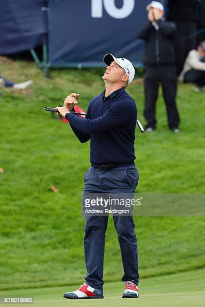 Alex Noren of Sweden reacts after a missed putt on the 16th green during the fourth round of the British Masters at The Grove on October 16 2016 in...