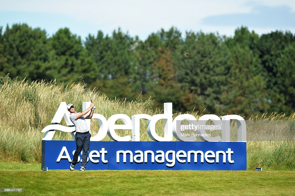 Alex Noren of Sweden takes his tee shot on hole 13 on day three of the Aberdeen Asset Management Paul Lawrie Matchplay at Archerfield Links Golf Club...