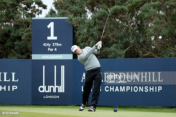 Alex Noren of Sweden tees off at the first hole during the second round of the Alfred Dunhill Links Championship on the Golf Links course Kingsbarns...