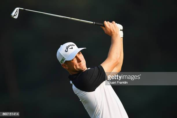 Alex Noren of Sweden tees off during the Pro Am tournament ahead of the Italian Open at Golf Club Milano Parco Reale di Monza on October 11 2017 in...