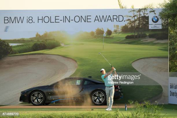 Alex Noren of Sweden tees off on the 17th hole during the first round of the DP World Tour Championship at Jumeirah Golf Estates on November 16 2017...