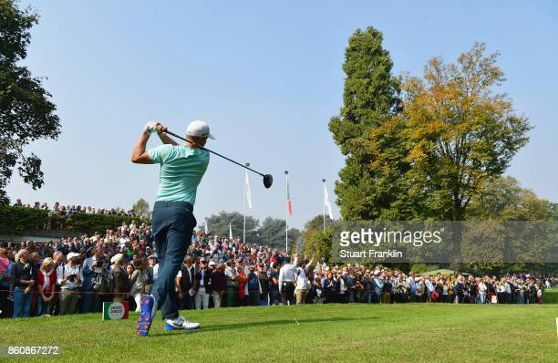 Alex Noren of Sweden tees off on the 1st hole during day two of the Italian Open at Golf Club Milano Parco Reale di Monza on October 13 2017 in Monza...