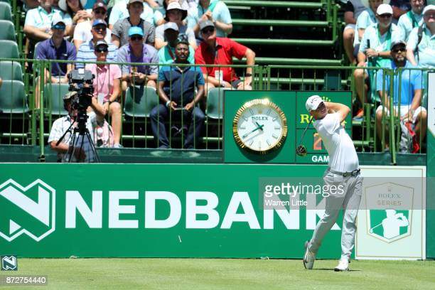 Alex Noren of Sweden tees off on the 1st hole during the third round of the Nedbank Golf Challenge at Gary Player CC on November 11 2017 in Sun City...