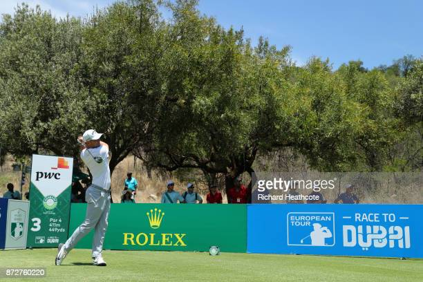 Alex Noren of Sweden tees off on the 3rd hole during the third round of the Nedbank Golf Challenge at Gary Player CC on November 11 2017 in Sun City...