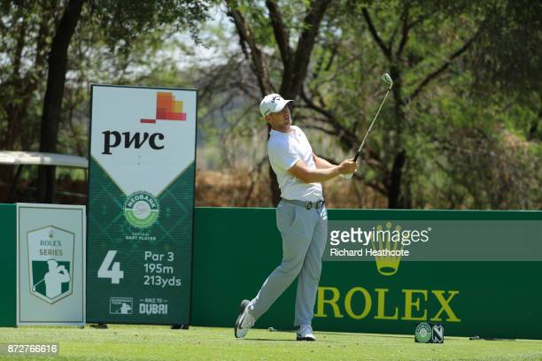 Alex Noren of Sweden tees off on the 4th hole during the third round of the Nedbank Golf Challenge at Gary Player CC on November 11 2017 in Sun City...