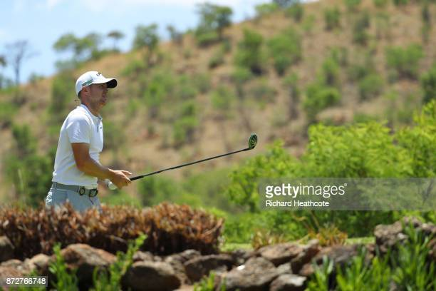 Alex Noren of Sweden tees off on the 5th hole during the third round of the Nedbank Golf Challenge at Gary Player CC on November 11 2017 in Sun City...