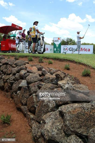 Alex Noren of Sweden tees off on the 8th hole during the third round of the Nedbank Golf Challenge at Gary Player CC on November 11 2017 in Sun City...