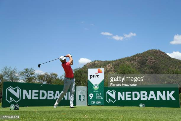 Alex Noren of Sweden tees off on the 9th hole during the second round of the Nedbank Golf Challenge at Gary Player CC on November 10 2017 in Sun City...