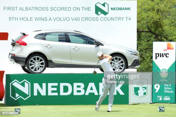 Alex Noren of Sweden tees off on the 9th hole during the third round of the Nedbank Golf Challenge at Gary Player CC on November 11 2017 in Sun City...