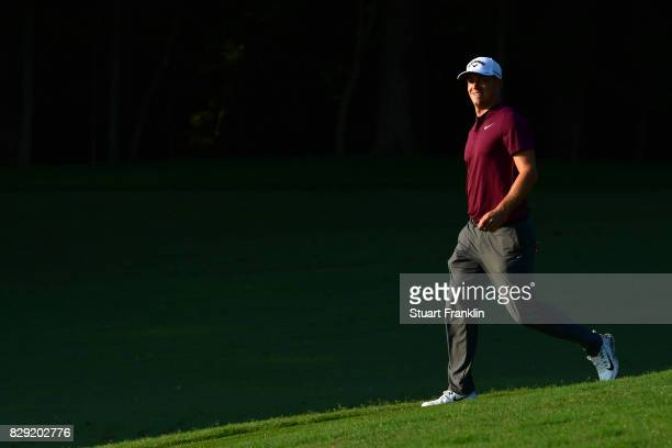 Alex Noren of Sweden walks down the 11th fairway during the first round of the 2017 PGA Championship at Quail Hollow Club on August 10 2017 in...