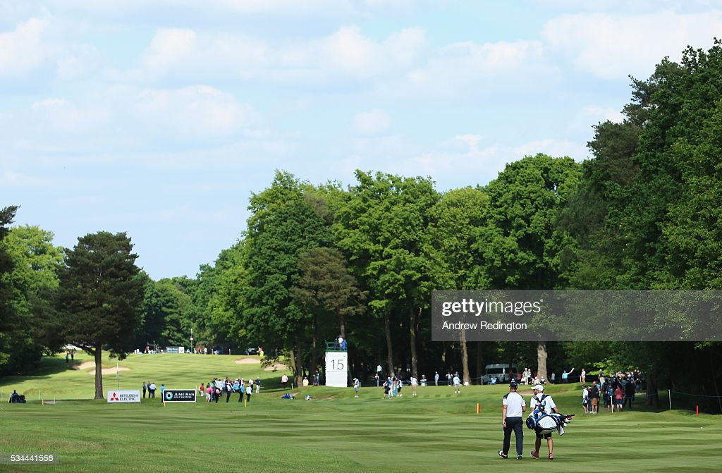 Alex Noren of Sweden walks down the 15th hole during day one of the BMW PGA Championship at Wentworth on May 26, 2016 in Virginia Water, England.