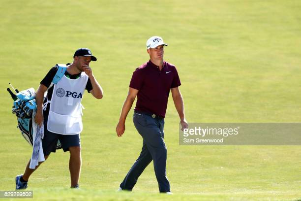 Alex Noren of Sweden walks up the first fairway during the first round of the 2017 PGA Championship at Quail Hollow Club on August 10 2017 in...