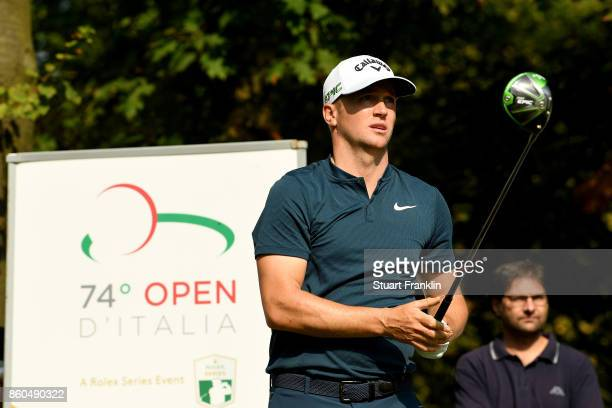 Alex Noren of Sweden watches his shot on Day One of the Italian Open at Golf Club Milano Parco Reale di Monza on October 12 2017 in Monza Italy