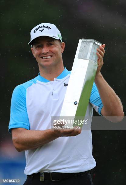Alex Noren of Sweden with the trophy after winning the BMW PGA Championship at Wentworth on May 28 2017 in Virginia Water England