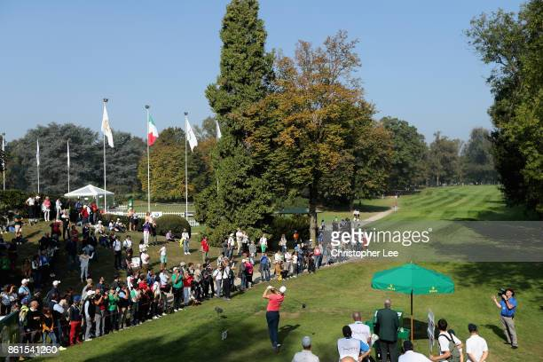 Alex Noren tees off on the 1st during the final round of the 2017 Italian Open at Golf Club Milano Parco Reale di Monza on October 15 2017 in Monza...