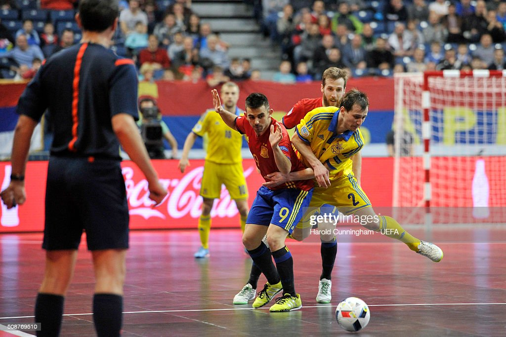 Alex of Spain and Dmytro Sorokin of Ukraine in action during the UEFA Futsal EURO 2016 match between Ukraine and Spain at Arena Belgrade on February 6, 2016 in Belgrade, Serbia.