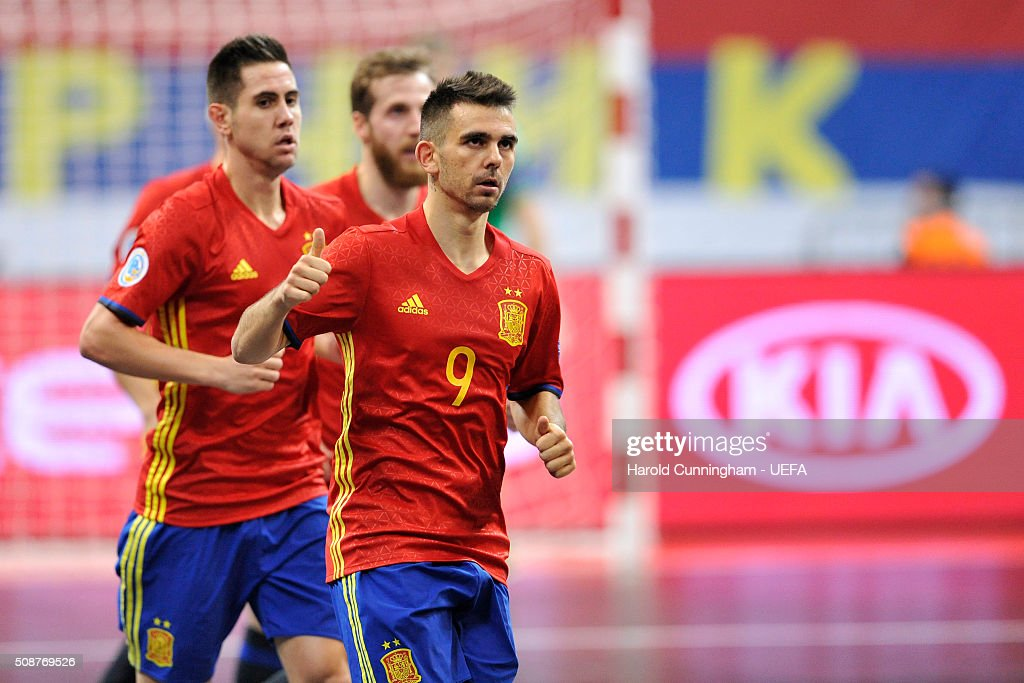Alex of Spain celebrates scoring a goal during the UEFA Futsal EURO 2016 match between Ukraine and Spain at Arena Belgrade on February 6, 2016 in Belgrade, Serbia.