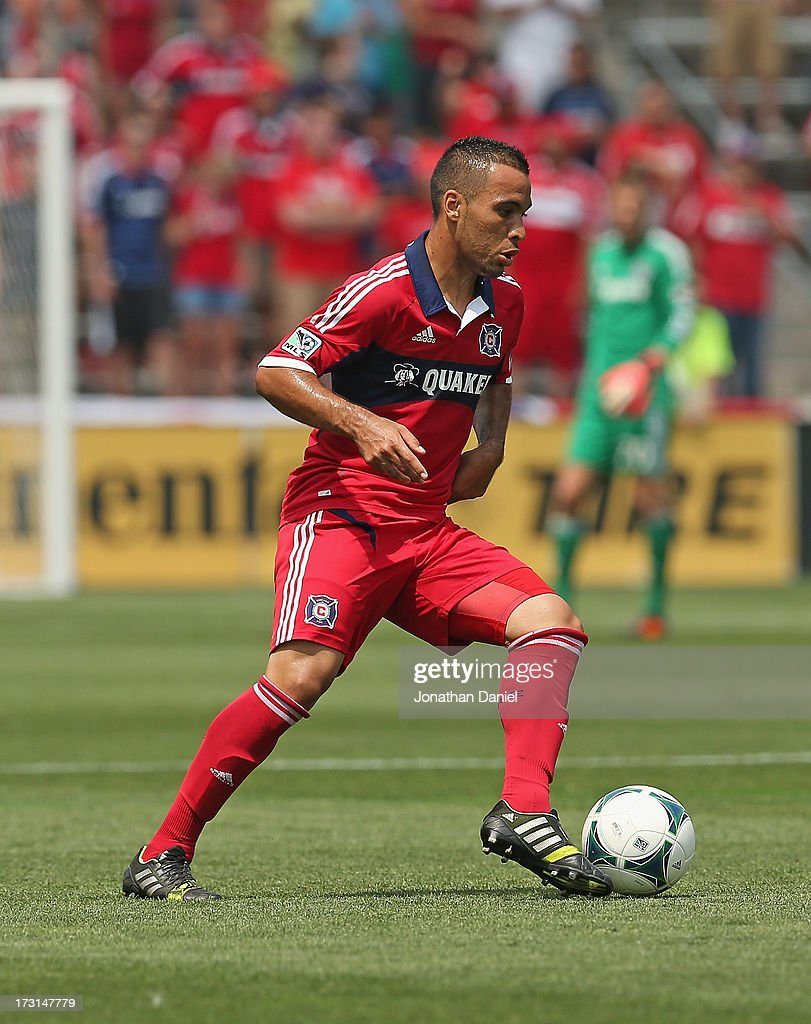 Alex #71 of the Chicago Fire controls the ball against Sporting Kansas City during an MLS match at Toyota Park on July 7, 2013 in Bridgeview, Illinois. Sporting Kansas City defeated the Fire 2-1.