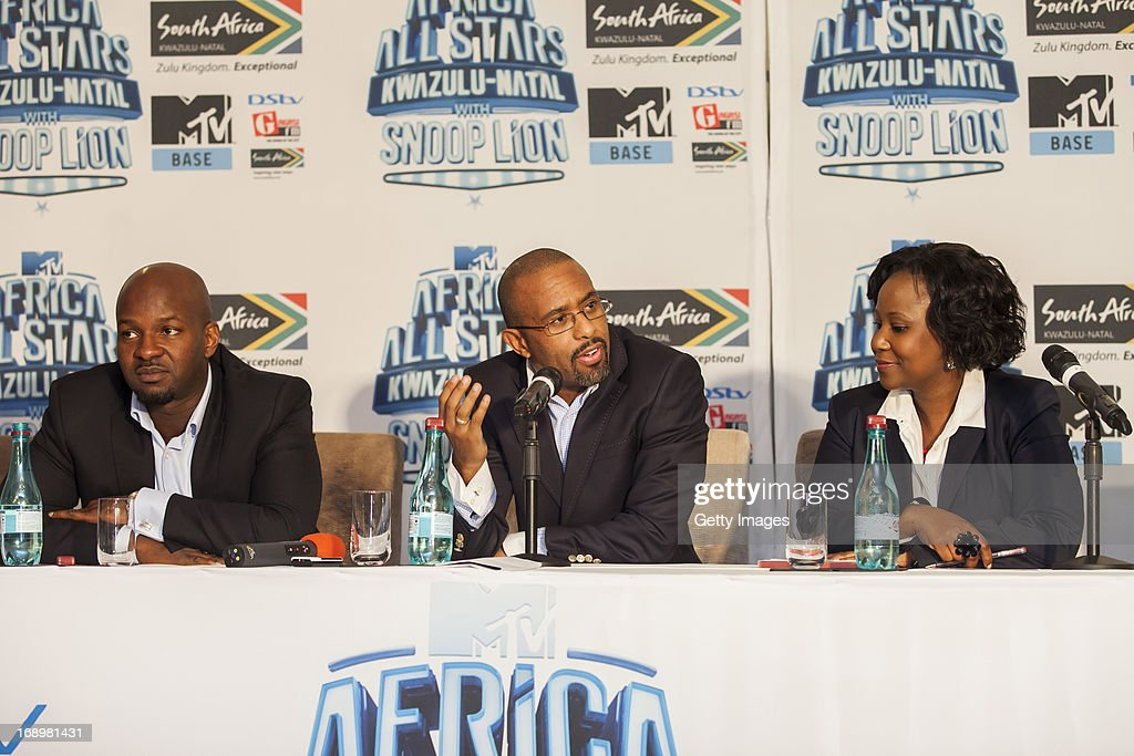 Alex Okosi, Desmond Golding and Ms Phindile Ngcobo at the press conference for the MTV Africa All Stars Concert on May17, 2013 in Durban, South Africa. Snoop Dog or Snoop Lion as he is now also known will be the headline act for the Concert.