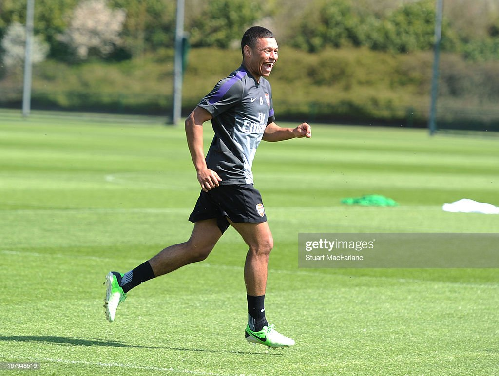 Alex Olade-Chamberlain of Arsenal during a training session at London Colney on May 03, 2013 in St Albans, England.