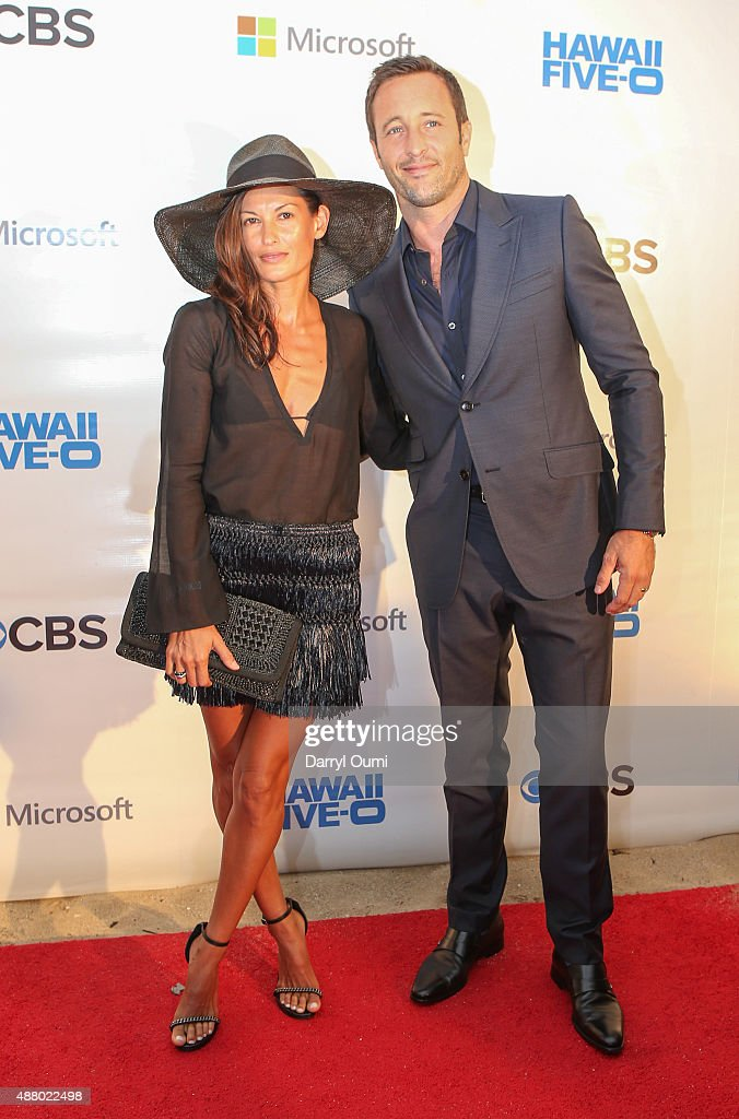 <a gi-track='captionPersonalityLinkClicked' href=/galleries/search?phrase=Alex+O%27Loughlin&family=editorial&specificpeople=4413173 ng-click='$event.stopPropagation()'>Alex O'Loughlin</a> and his wife Maila Jones arrive at the CBS 'Hawaii Five-0' Sunset On The Beach Season 6 Premire Event at Queen's Surf Beach on September 12, 2015 in Waikiki, Hawaii.